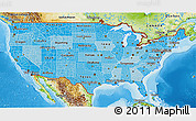 Political Shades 3D Map of United States, physical outside