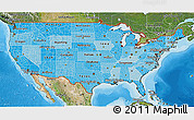 Political Shades 3D Map of United States, satellite outside, bathymetry sea
