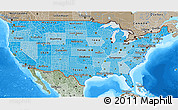 Political Shades 3D Map of United States, semi-desaturated, land only