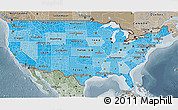 Political Shades 3D Map of United States, semi-desaturated