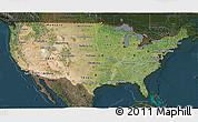 Satellite 3D Map of United States, darken
