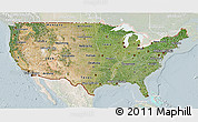 Satellite 3D Map of United States, lighten