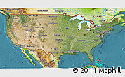 Satellite 3D Map of United States, physical outside, satellite sea