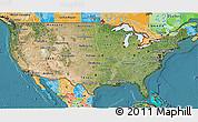Satellite 3D Map of United States, political outside, satellite sea