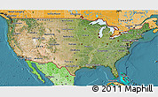 Satellite 3D Map of United States, political shades outside, satellite sea