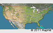 Satellite 3D Map of United States, semi-desaturated, land only