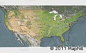 Satellite 3D Map of United States, semi-desaturated