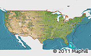 Satellite 3D Map of United States, single color outside