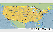 Savanna Style 3D Map of United States, single color outside