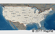 Shaded Relief 3D Map of United States, darken