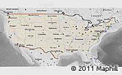 Shaded Relief 3D Map of United States, desaturated