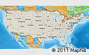 Shaded Relief 3D Map of United States, political outside, shaded relief sea