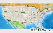Shaded Relief 3D Map of United States, political shades outside, shaded relief sea