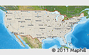 Shaded Relief 3D Map of United States, satellite outside, shaded relief sea