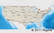 Shaded Relief 3D Map of United States, single color outside