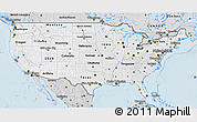 Silver Style 3D Map of United States