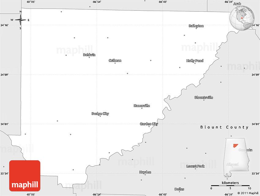 Silver Style Simple Map of Cullman County