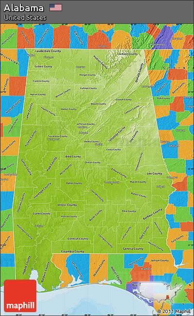 Free Physical Map of Alabama political outside