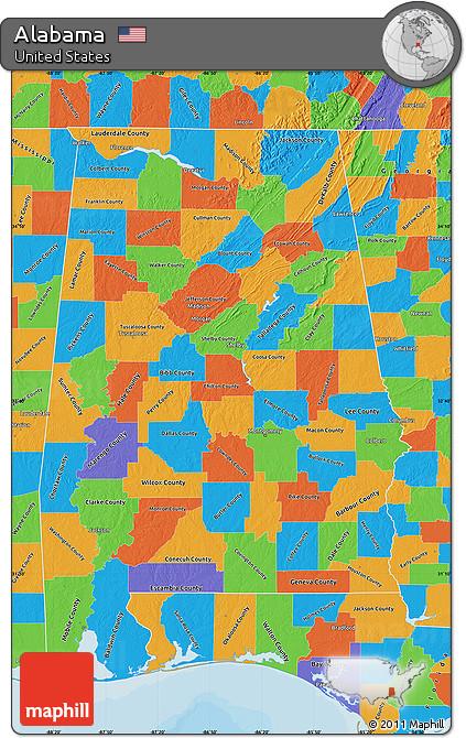 Free Political Map Of Alabama