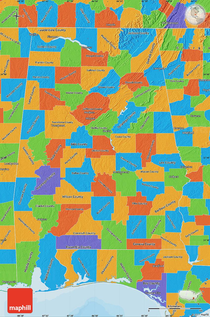Political Map of Alabama