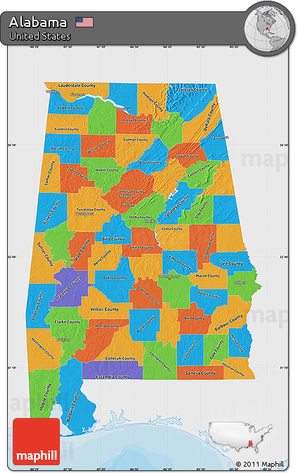 Free Political Map Of Alabama Single Color Outside