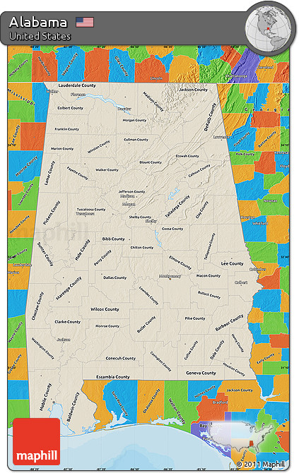 Political Map Of Alabama.Free Shaded Relief Map Of Alabama Political Outside