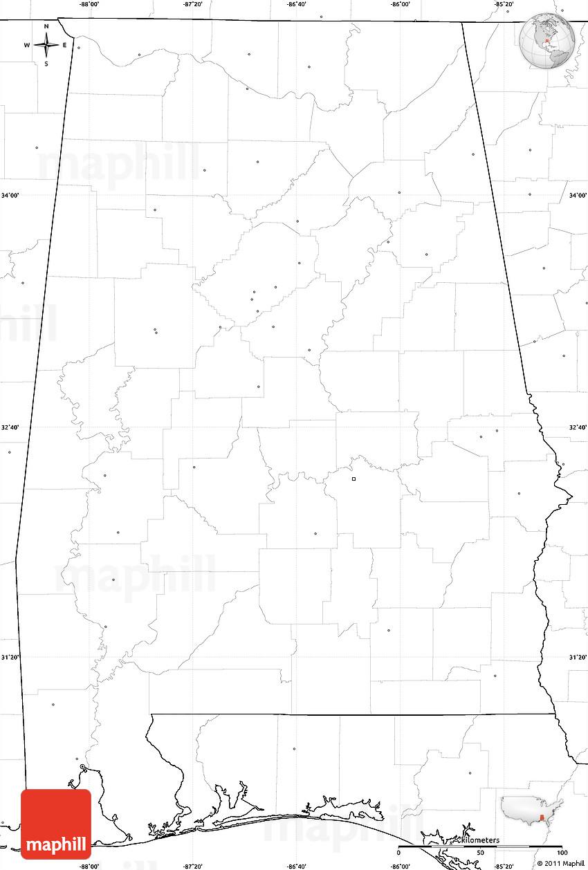 Simple Alabama Map Swimnovacom - Us map no labels