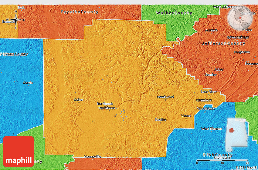 Political 3D Map of Tuscaloosa County