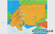 Political 3D Map of ZIP code 00001