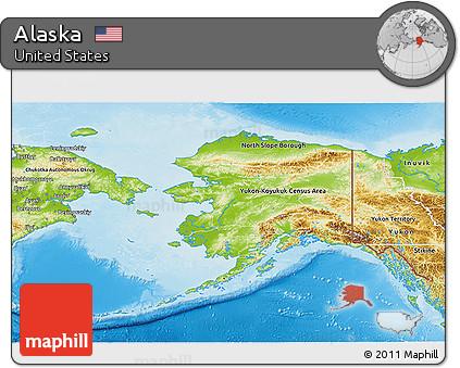 Free Physical 3D Map of Alaska