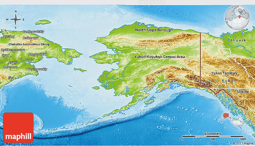 Physical 3D Map of Alaska