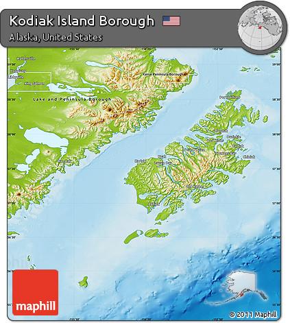 Kodiak Island Alaska Map.Free Physical Map Of Kodiak Island Borough