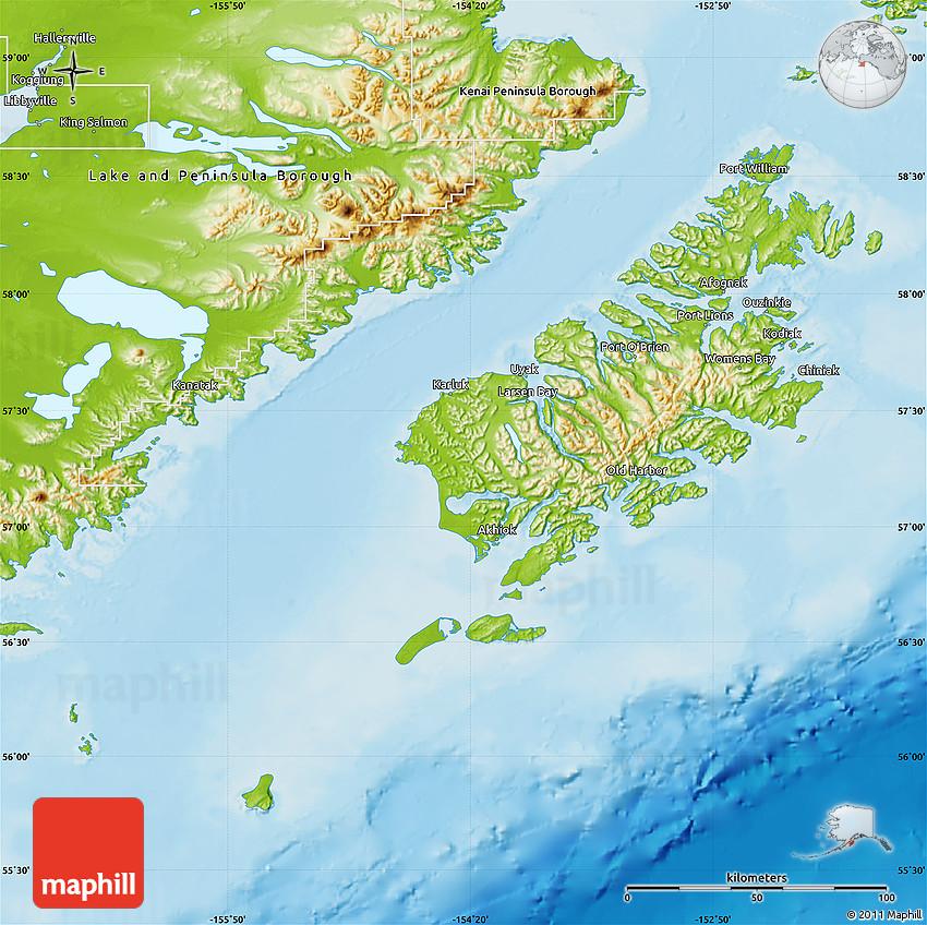 Physical Map Of Kodiak Island Borough