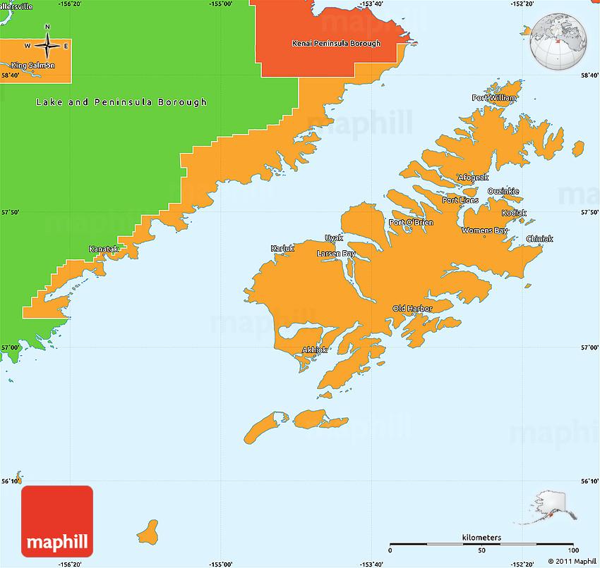 Kodiak Island Alaska Map.Political Simple Map Of Kodiak Island Borough