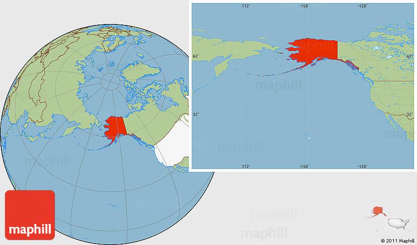 Savanna Style Location Map of Alaska, highlighted country