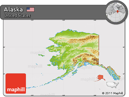 Free Physical Map of Alaska, cropped outside