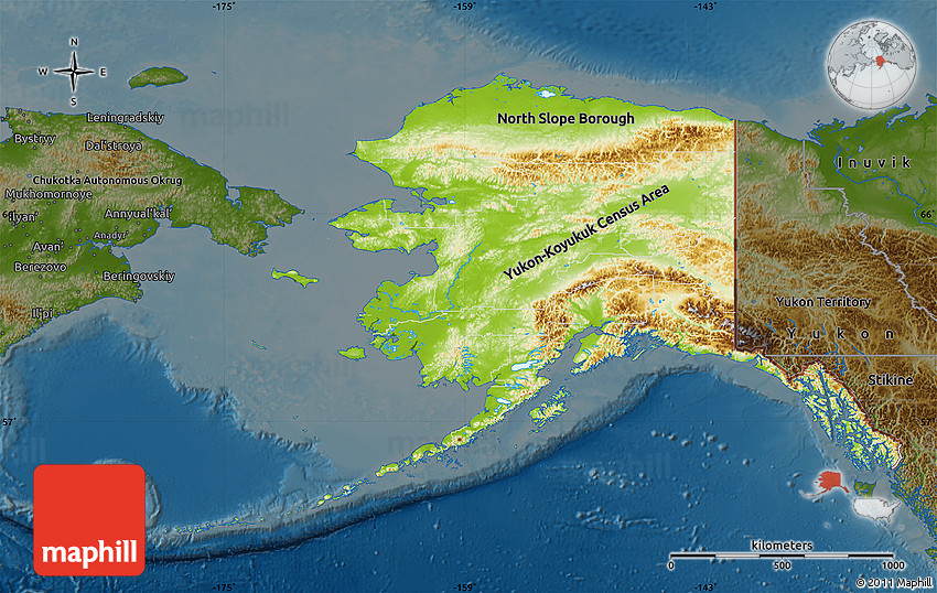 Physical Map of Alaska, darken
