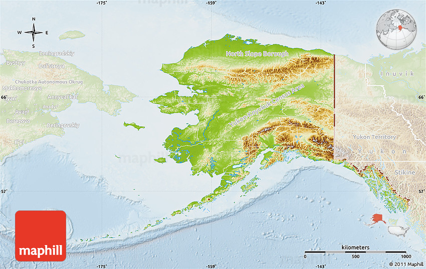Physical Map of Alaska, lighten