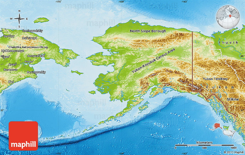 Physical Map of Alaska
