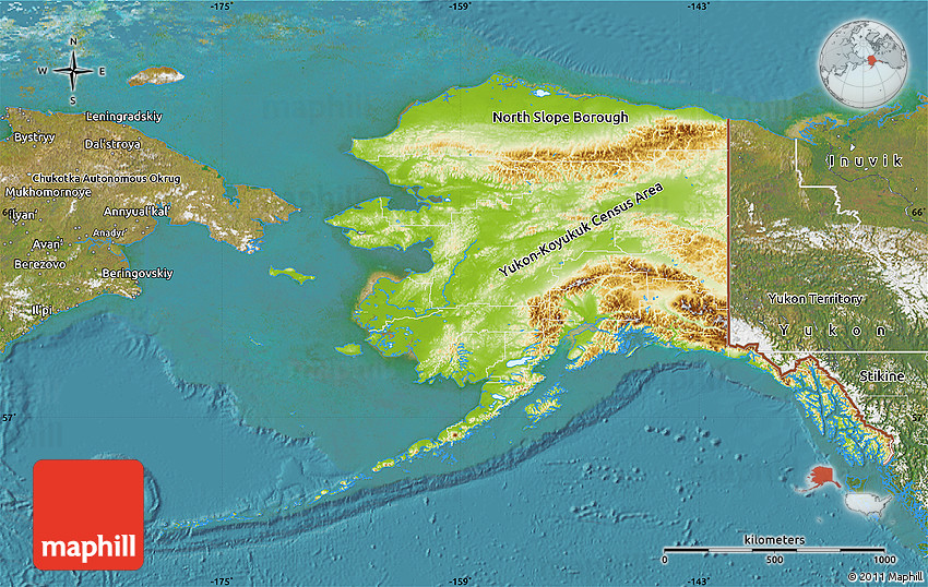 Physical Map of Alaska, satellite outside