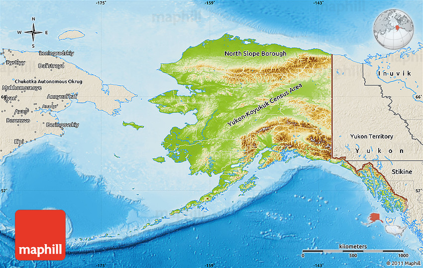 Physical Map of Alaska, shaded relief outside