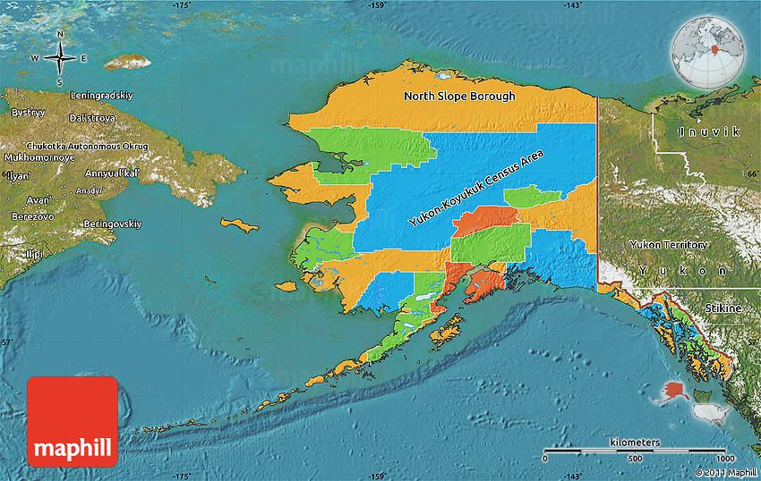 Political Map Of Alaska Satellite Outside - Political map of alaska