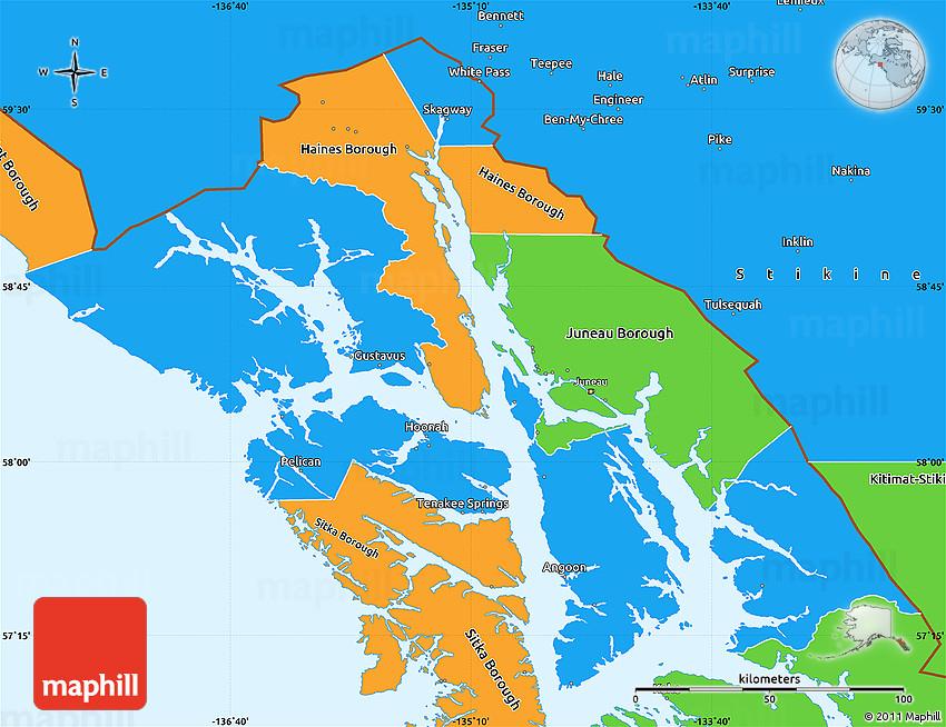 Political Simple Map Of Skagway Hoonah Angoon Census Area