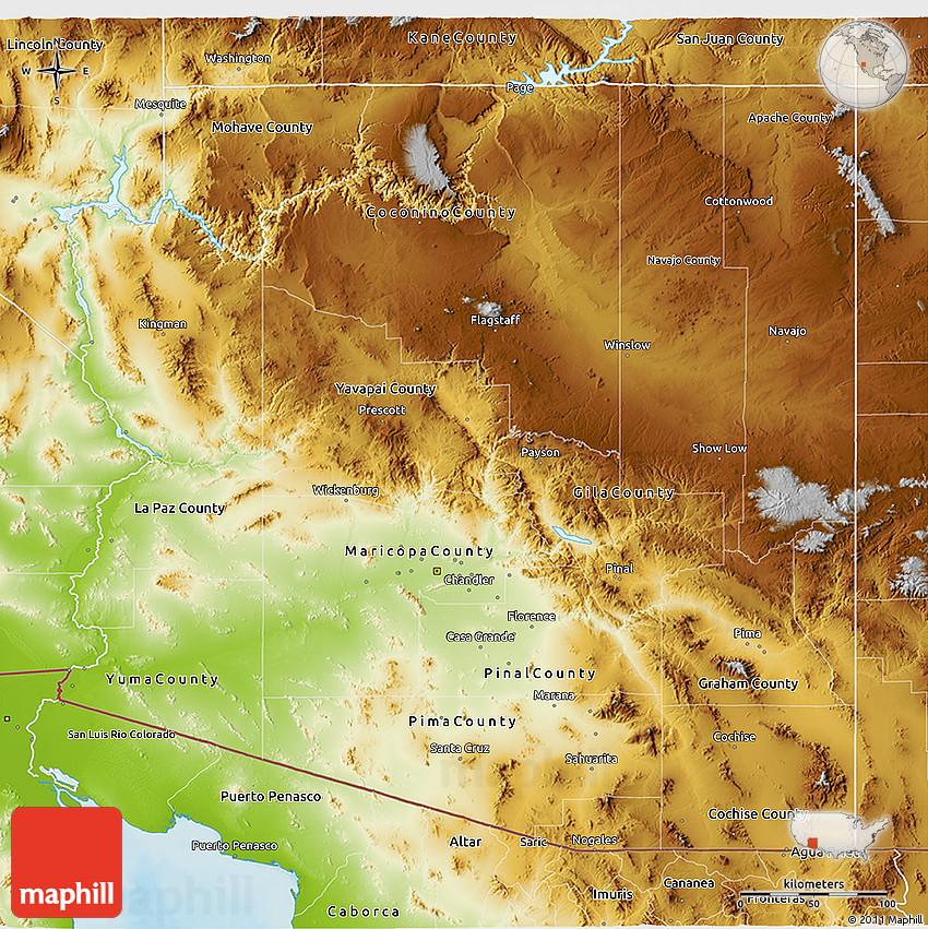 3d Map Of Arizona.Physical 3d Map Of Arizona