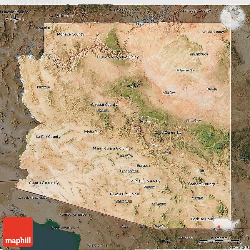 Satellite Map Of Arizona.Satellite 3d Map Of Arizona Darken