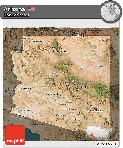 Satellite Map Of Arizona.Free Satellite 3d Map Of Arizona Darken