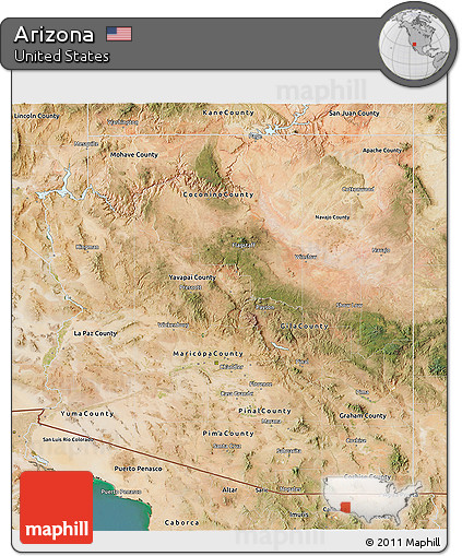 Satellite Map Of Arizona.Free Satellite 3d Map Of Arizona