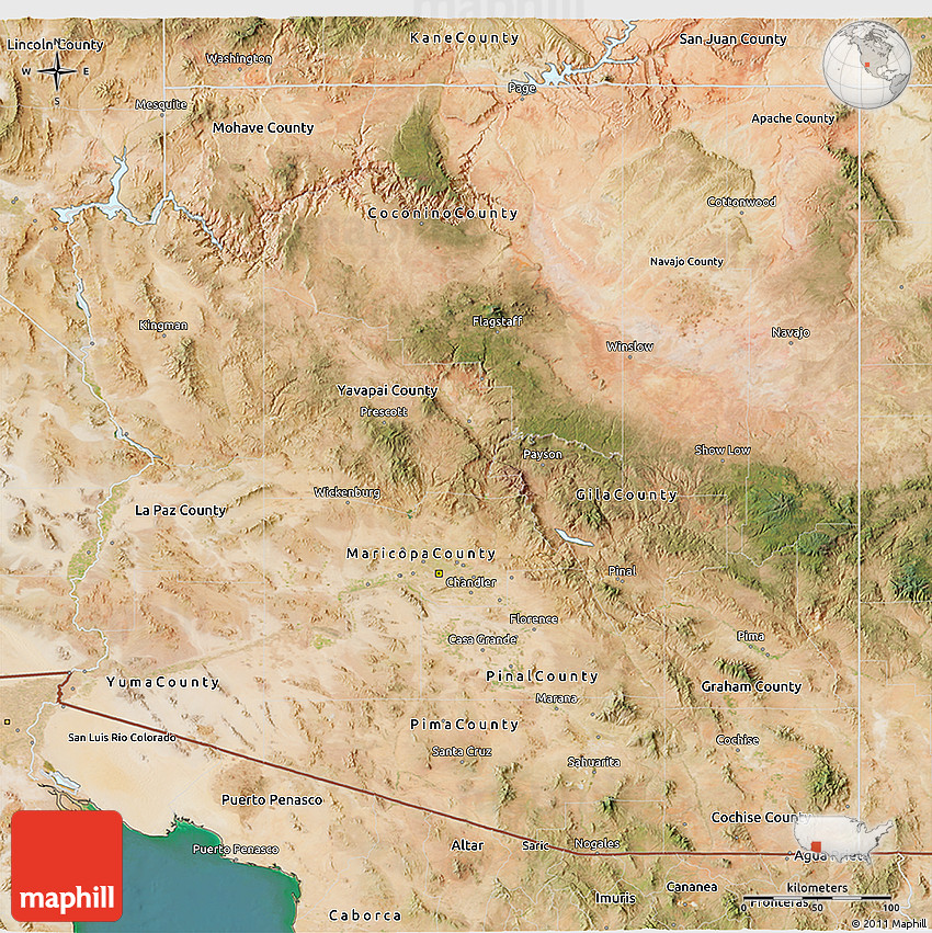 Satellite Map Of Arizona.Satellite 3d Map Of Arizona