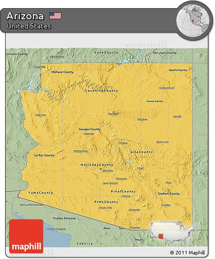 3d Map Of Arizona.Free Savanna Style 3d Map Of Arizona