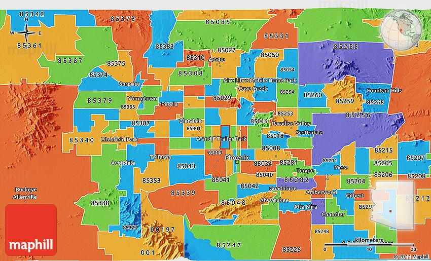 Map Of Scottsdale Arizona Zip Codes.Political 3d Map Of Zip Code 85015